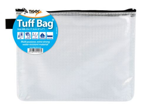 Tiger Tuff Bag Polypropylene A5 500 Micron Clear with Assorted Colour Zips