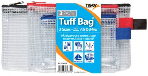 Tiger Tuff Bag Polypropylene Triple Pack of A6 Mini and DL 500 Micron Clear with Assorted Colour Zips (Pack 3)