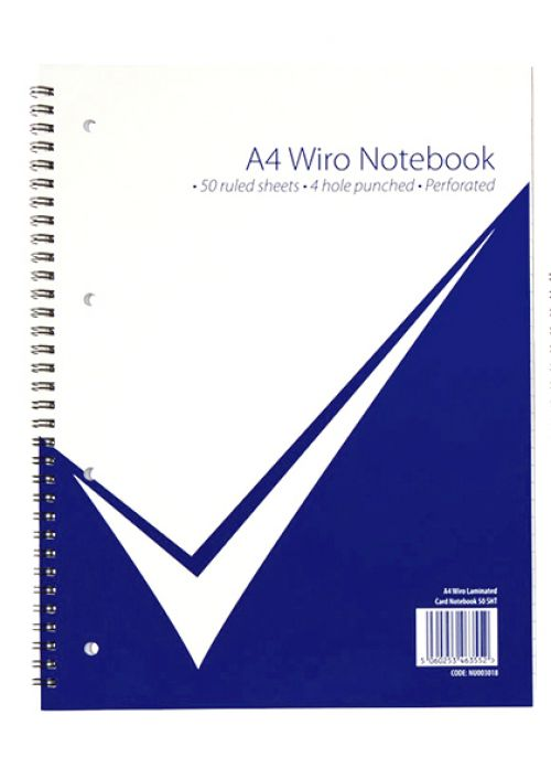 Value A4 Wiro Laminated Notebook PK5