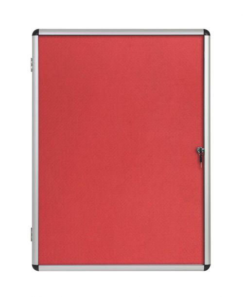 Bi-Office Enclore Red Felt Lockable Noticeboard 9xA4