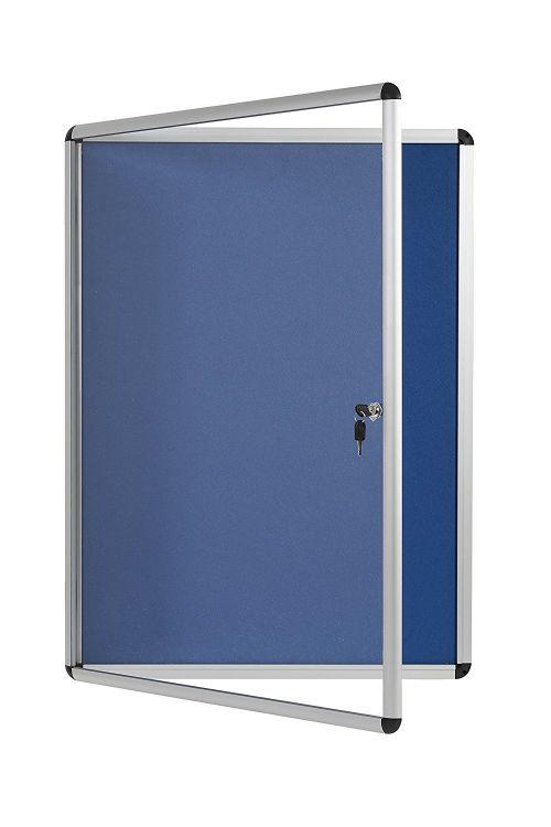 Bi-Office Enclore Blue Felt Lockable Noticeboard 12xA4