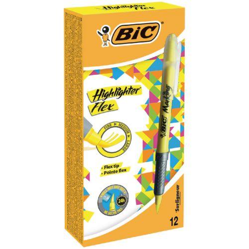 Bic Flex Highlighter Pen Chisel Tip 1.6-3.3mm Line Yellow (Pack 12)