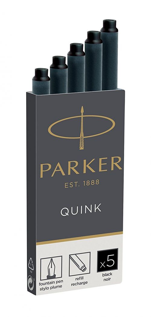 Parker Quink Ink Refill Cartridge for Fountain Pens Black (Pack 5)