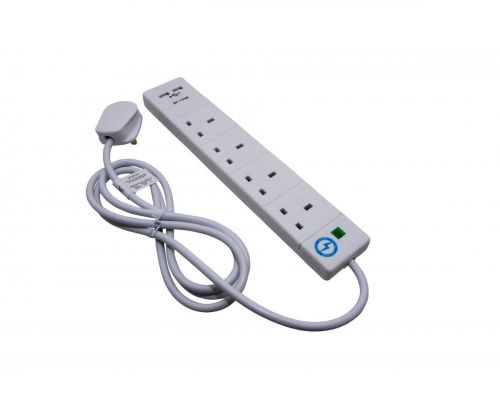 Surge Protection Extension Lead with USB Ports 4 way 2 Metre White
