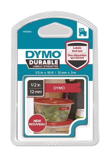 Dymo D1 Durable 12mm x 3M White on Red