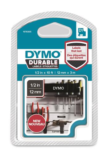 Dymo D1 Durable 12mm x 3M White on Black