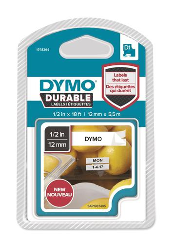 Dymo D1 Durable 12mm x 5.5M Black on White