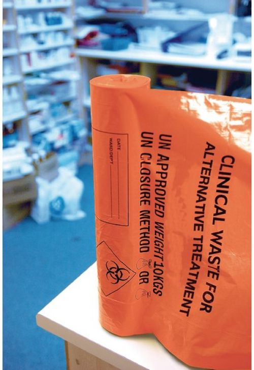 Clinical Waste Sack For Alternative Treatment Heavy Duty 10kg Capacity Orange AT25/M085 [Pack 4x25]