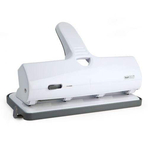 Rapesco ALU 40 Heavy Duty 4 Hole Punch Chrome and White