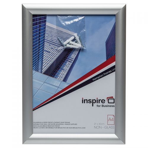 Photo Album Co Inspire for Business Certificate/Photo Snap Frame A4 Aluminium Frame Plastic Front Silver