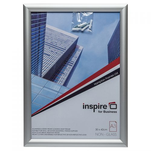 Photo Album Co Inspire for Business Poster/Photo Snap Frame A3 Aluminium Frame Plastic Front Silver