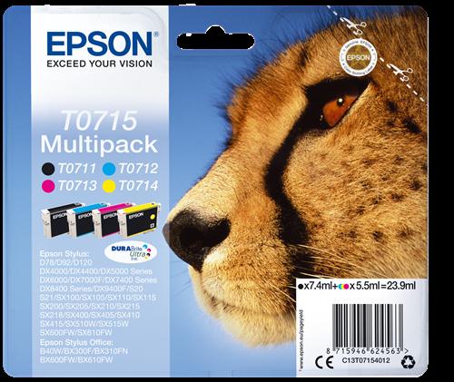 Epson T0715 Cheetah Black CMY Standard Capacity Ink Cartridge 24ml Multipack - C13T07154012