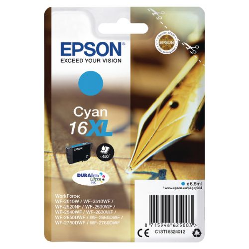 Epson C13T16324012 16XL Cyan Ink 6.5ml