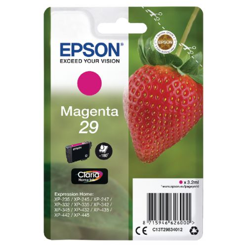 Epson 29 Strawberry Magenta Standard Capacity Ink Cartridge 3ml - C13T29834012
