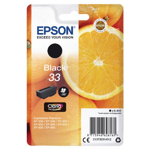 Epson C13T33314012 33 Black Ink 6ml