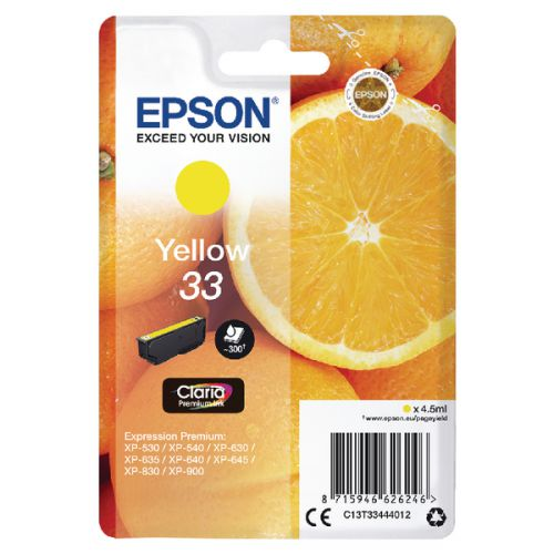 Epson C13T33444012 33 Yellow Ink 4.5ml