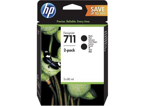 HP 711 Black Standard Capacity Ink Cartridge 80ml Twinpack - P2V31A