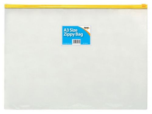 Tiger Zippy Bag Polypropylene A3 180 Micron Clear with Assorted Colour Zips