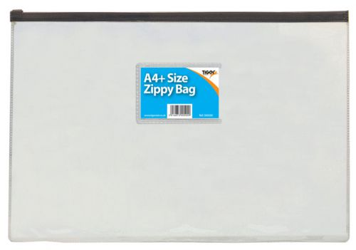 Tiger Zippy Bag Polypropylene A4 180 Micron Clear with Assorted Colour Zips (Pack 12)