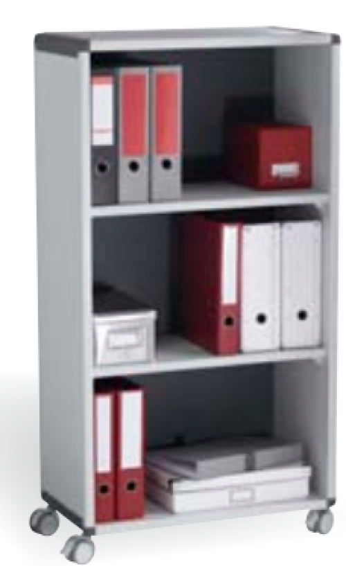 Fast Paper Mobile Bookcase 3 Compartment Polystyrene 4-Castors Grey/Charcoal F381K211