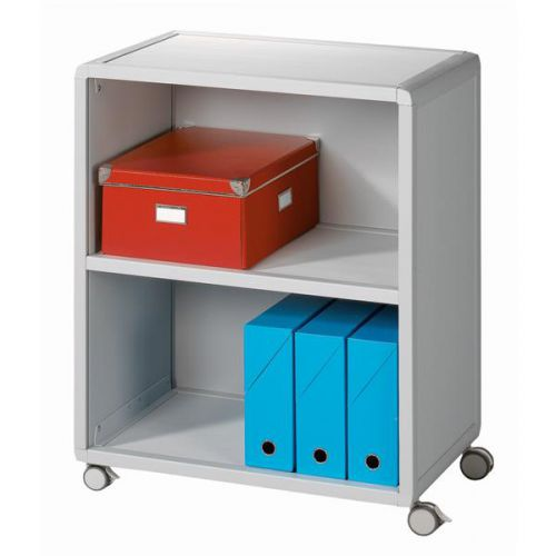 Fast Paper Mobile Bookcase 2 Compartment Polystyrene 4-Castors Grey FDM2K202
