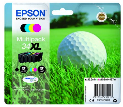 Epson C13T34764010 34XL Black Colour Ink 16ml 3x11ml Multi