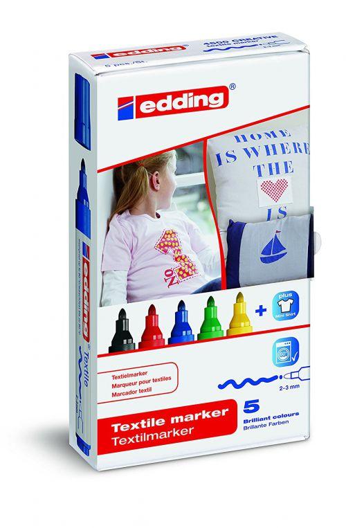 Edding 4500 Textile Marker Bullet Tip 2-3mm Line Assorted Colours (Pack 5)