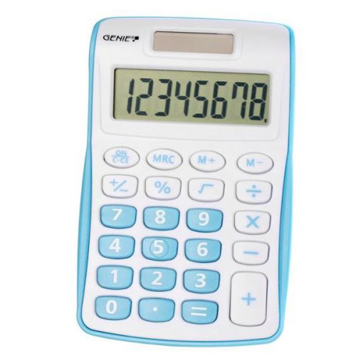 Genie 120B Pocket Calculator 8 Digit Blue