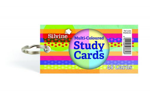 Silvine Multicoloured Study Cards 50x100mm