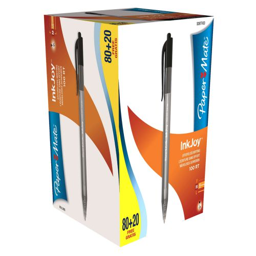 Paper Mate InkJoy 100 Retractable Ballpoint Pen 1.0mm Tip 0.7mm Line Blue (Pack 80 Plus 20 Free)