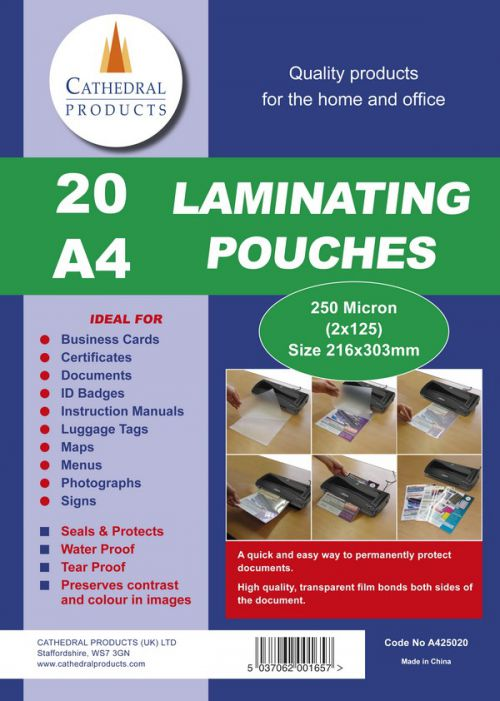 Cathedral Laminating Pouch A4 250 Micron (Pack 20)