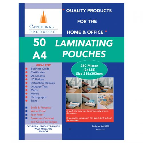 ValueX Laminating Pouch A4 250Micron (Pack 50)
