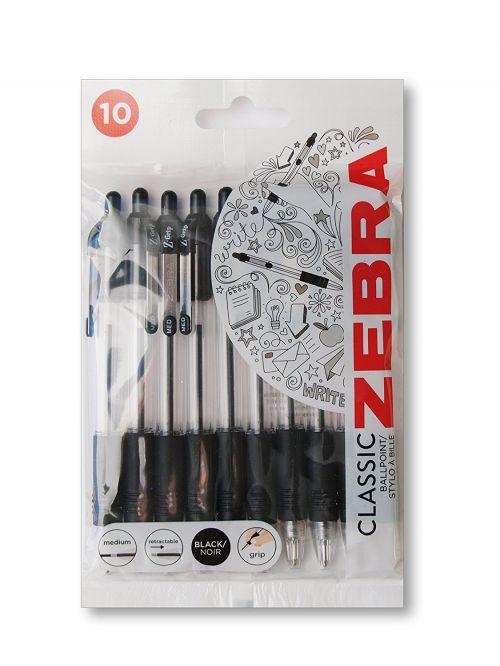 Zebra Z-Grip Retractable Ballpoint Pen 1.0mm Tip Black (Pack 10)