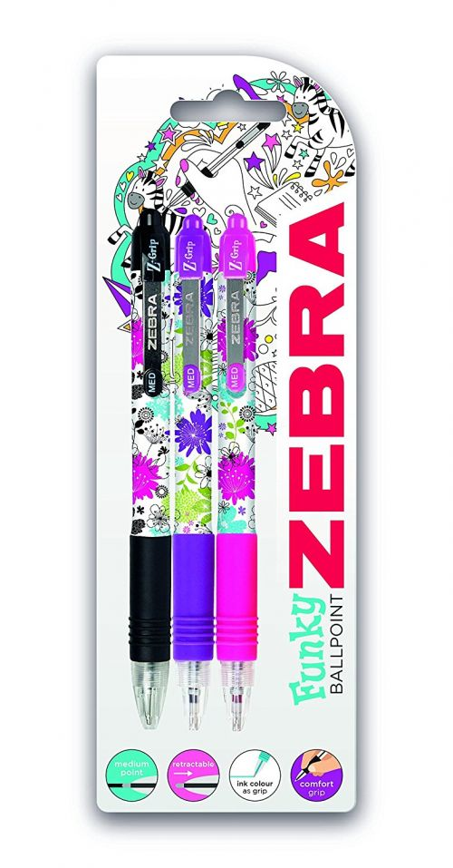 Zebra Z-Grip Funky Floral Retractable Ballpoint Pen 1.2mm Tip 0.6mm Line Black/Pink/Purple (Pack 3)