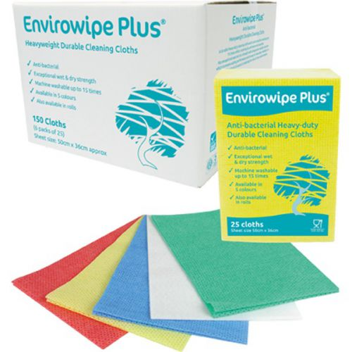 Envirowipe Plus Heavy-Duty Cleaning Cloths (50x36) Red PK25