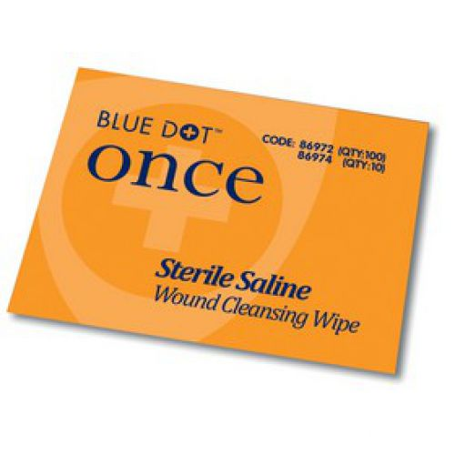 Blue Dot Sterile Saline Wipes PK100