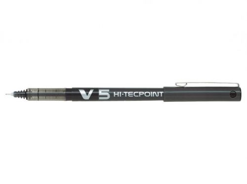 Pilot V5 Hi-Tecpoint Liquid Ink Rollerball Pen 0.5mm Tip 0.3mm Line Black (Pack 20)