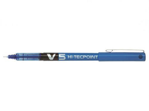 Pilot V5 Hi-Tecpoint Liquid Ink Rollerball Pen 0.5mm Tip 0.3mm Line Blue (Pack 20)