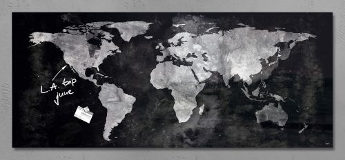 Sigel Artverum Magnetic Glass Board World Map