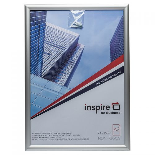 Photo Album Co Inspire for Business Poster/Photo Snap Frame A2 Aluminium Frame Plastic Front Silver