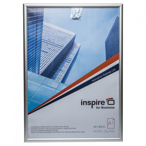Photo Album Co Inspire for Business Poster/Photo Snap Frame A1 Aluminium Frame Plastic Front Silver