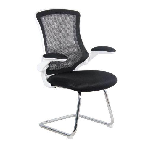Luna White Shell Chrome Frame Cantilever Mesh Chair Black
