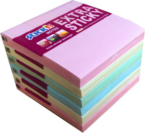 ValueX Extra Sticky Notes 76x76mm 90 Sheets Pastel Colours (Pack 6)