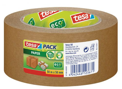 tesa tesapack ecoLogo Paper Packaging Tape 50x50mm Brown 57180 [Pack 6]