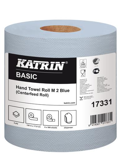 Katrin Centrefeed 2 Ply Hand Towel Blue Pack 6