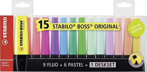 Stabilo BOSS Deskset Highlighter Chisel Tip Assorted (Pack 15)