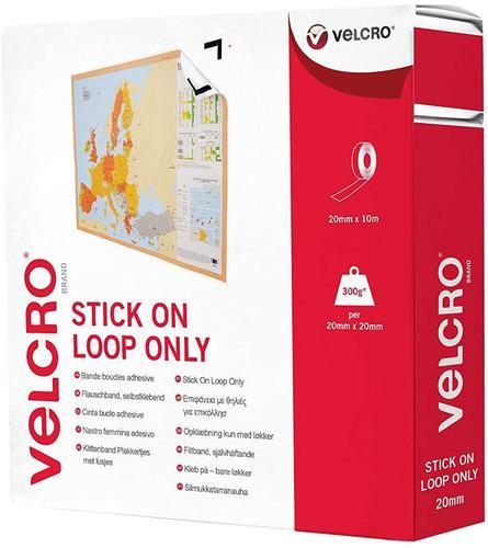 Velcro Sticky Loop Strip 20mmx10m White