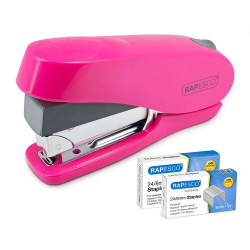 Rapesco Luna Less Effort Half Strip Front Loading Stapler Pink 2000 Staples