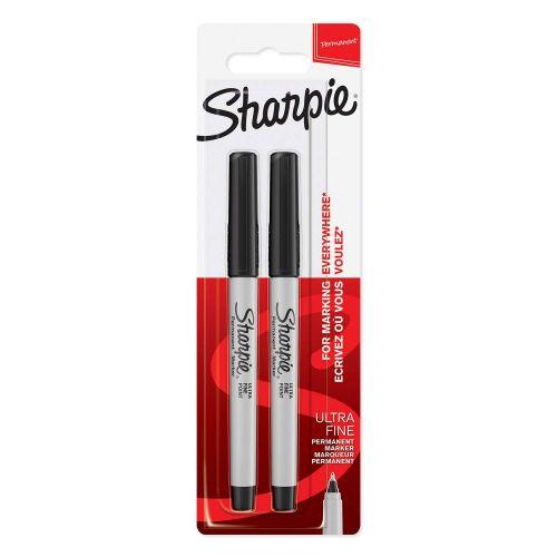 Sharpie Ultra Fine Permanent Marker Black Blister PK2
