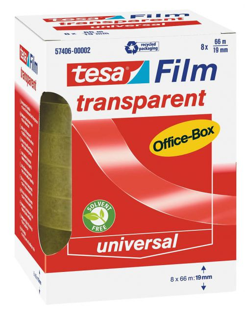 tesa tesafilm Transparent Self Adhesive Tape Office Tape 19mm x 66m 57406 [Office Box of 8]